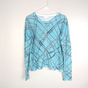 Charter Club Pearl Strand and Sky Blue Cardigan L